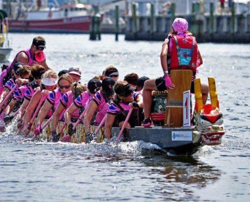 pink dragon boat