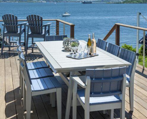 blue patio table
