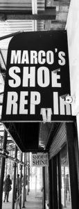 Barry Elberg - Shoe Repair Sign B IOM BW