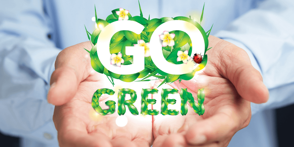 Hands holding words go green.