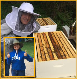 Young man in beekeeper gear next to open hive with and insert image of a young woman in beekeeper gear