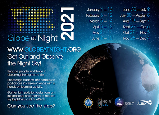 Graphic showing Globe at Night Dates