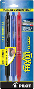 Pilot Frixion Clicker Retractable Erasable Gel Pens