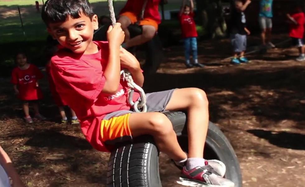 Boy having fun swinging
