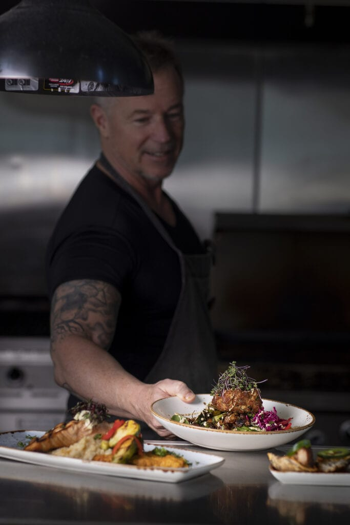 Chef Wes Stepp at NC Coast Bar and Grill, Crab Cake OBX seafood