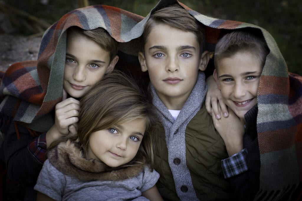 four siblings with beautiful eyes