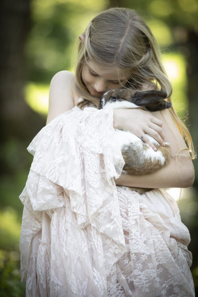 girl with bunny in arms Loudoun County