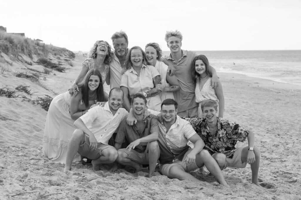 Laughing family on beach
