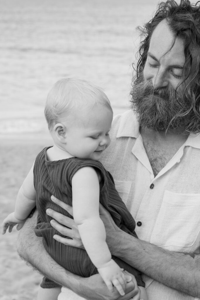 Dad and baby boy on beach in Duck NC