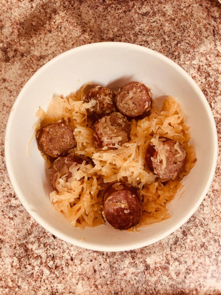 Smoked Kielbasa with Sauerkraut, a classic delicious combination
