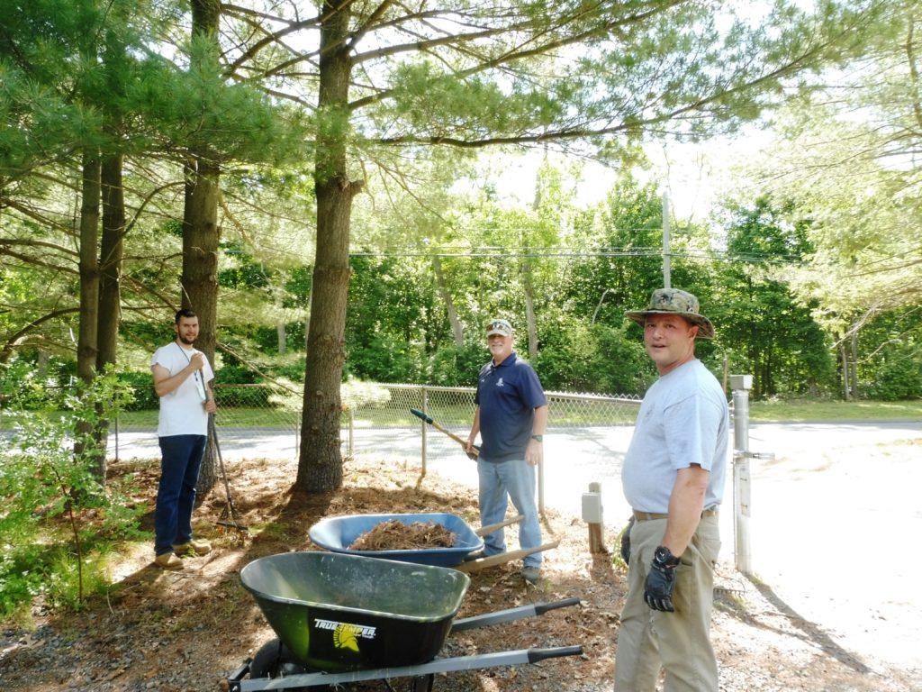 Jeff, John & Mark leaf & debris cleanup at gate