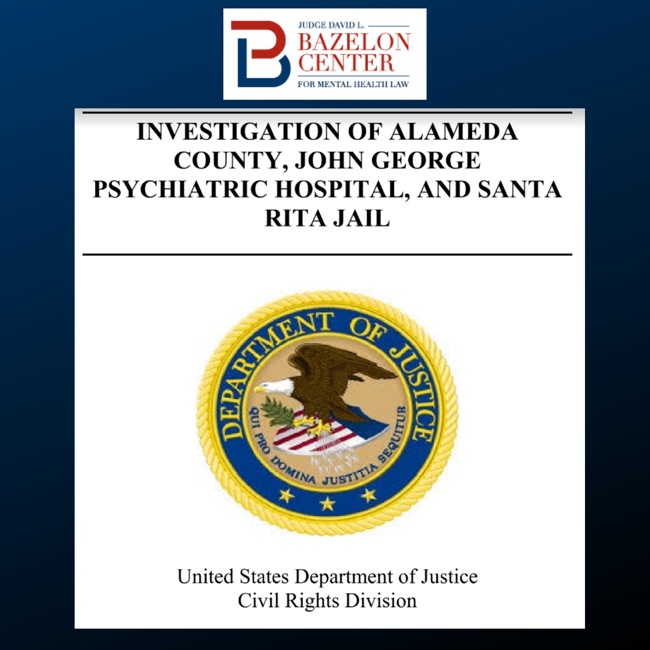Justice Department Finds that Alameda County, California, Violates the  Americans with Disabilities Act and the U.S. Constitution, After  Unprecedented Investigation