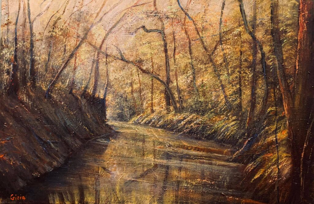 painting of stream and woods at aucilla sinks florida
