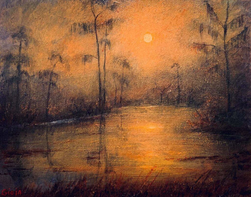 original painting of full moon over wakulla river florida