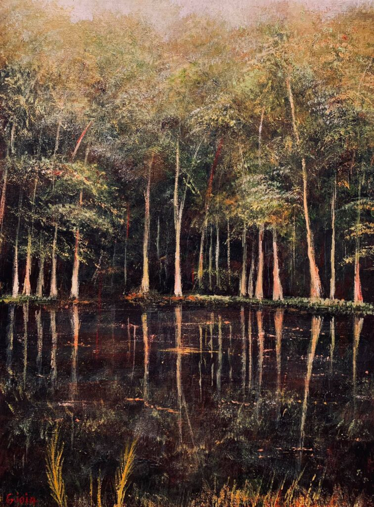original painting of trees along deep summer pool