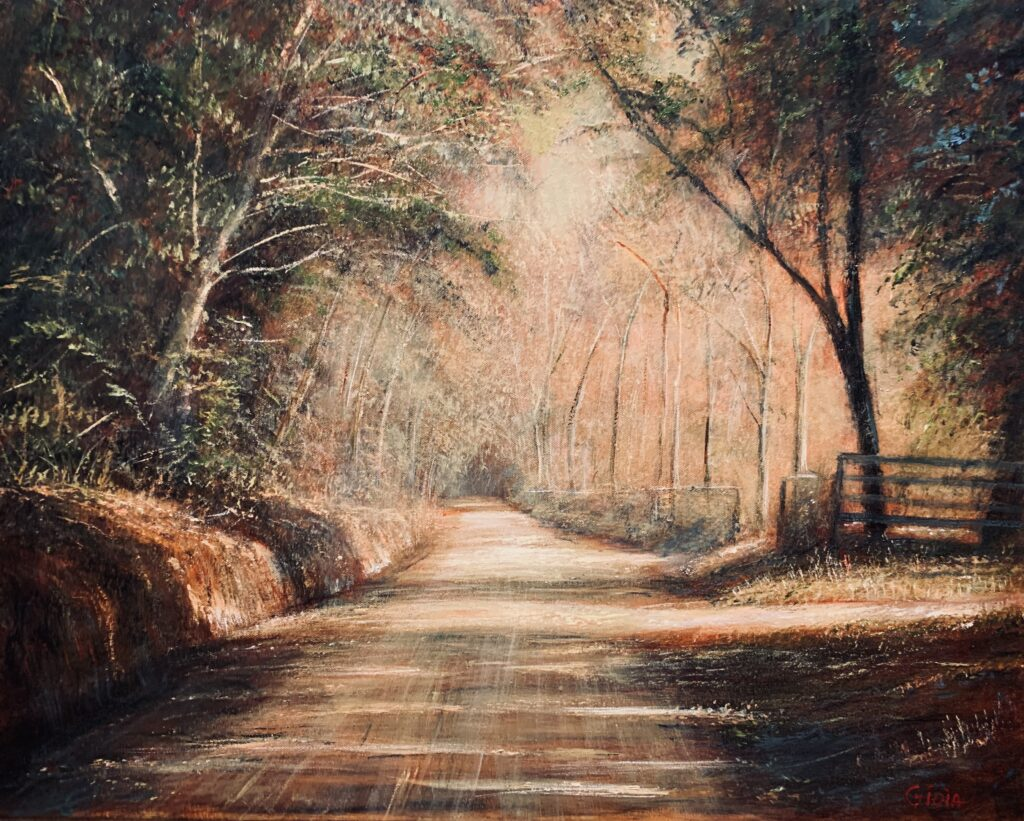 original painting of dusty sunlight falling across sweetwater road