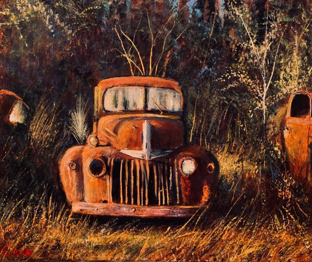 original painting of rusted antique pickup truck in field