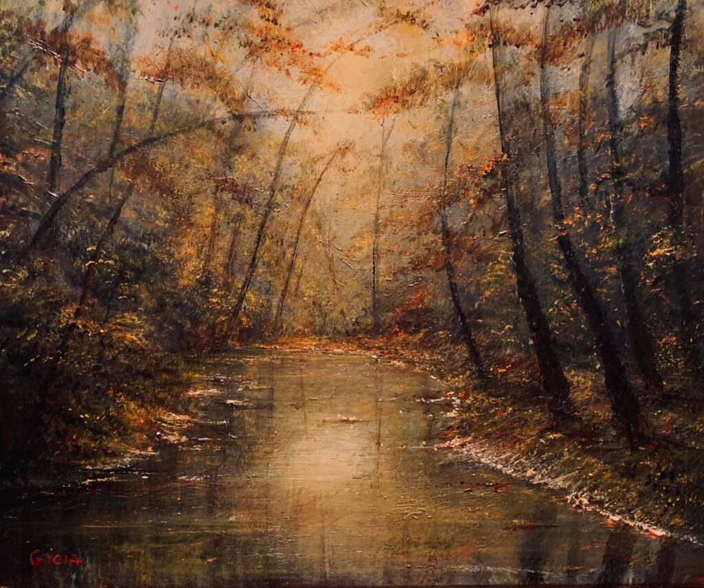 original painting of sun reflecting on pool of water in forest