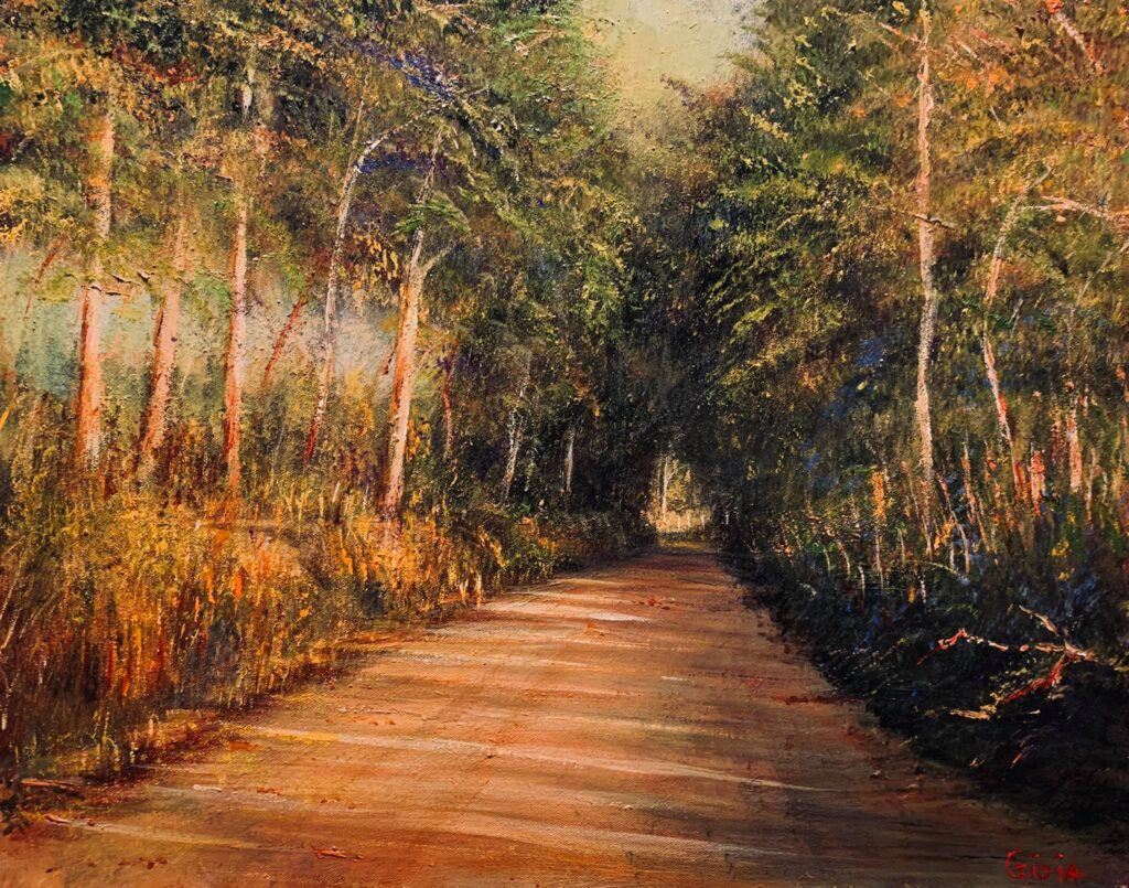 original painting of red clay road with trees