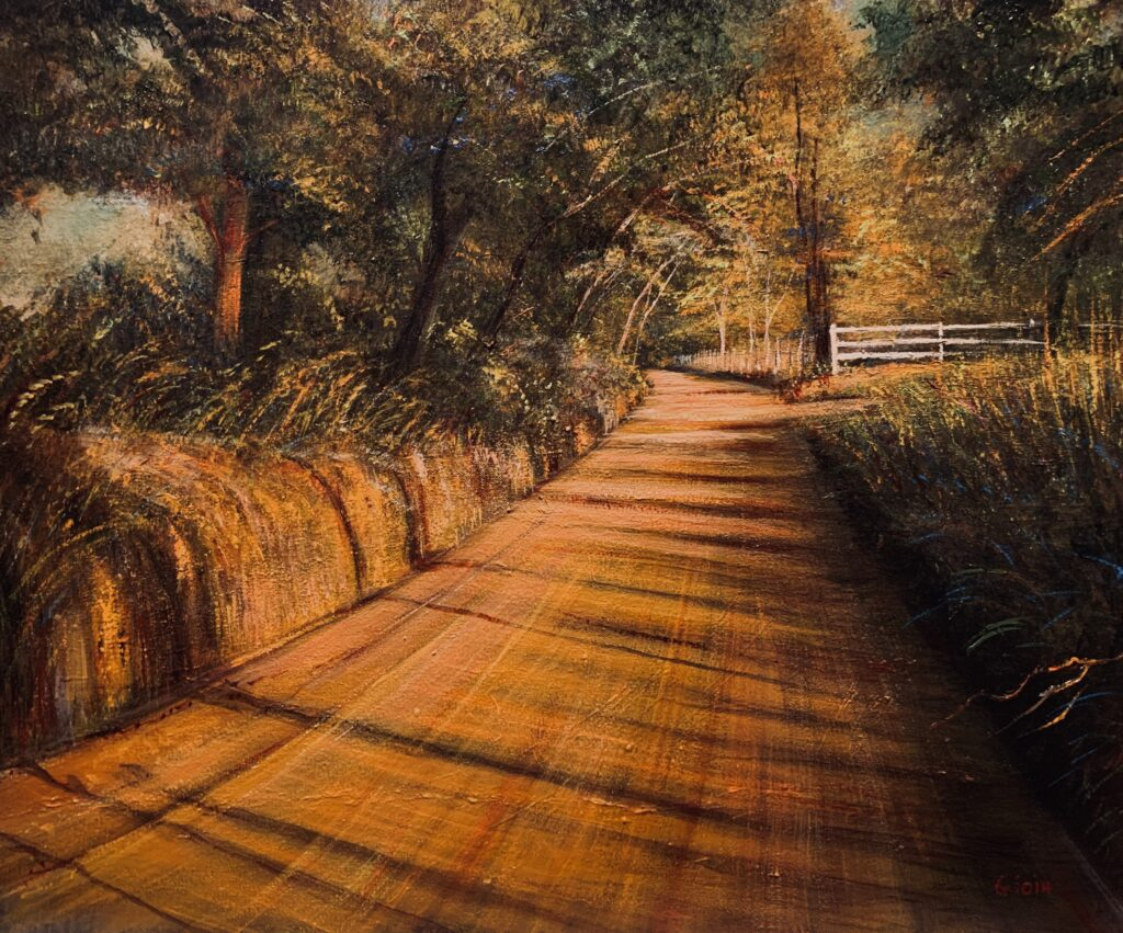 original landscape painting of red dirt country road