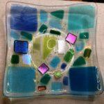 """SOLD - #12805 BBGArt Glass dish/bowl (multi-colored), dicro, original design & engraved  Size: 7"""" square slumped to 6-1/2"""""""