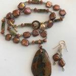 """#14889 Peruvian Fire Opal & Pearls, copper beads neckl/earrings (20"""")"""