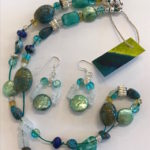 """SOLD - #14876 Crystals, Lapis, & Pearls on SS clasp (21"""")"""