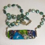"#14887 Teal Pearls w/art designed glass (22"")"