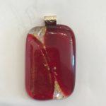 #14903 Ruby glass/dicro & gold micah