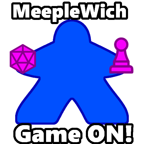 """Meeple holding a d20 and pawn. Text reads """"MeepleWich - Game ON!"""""""