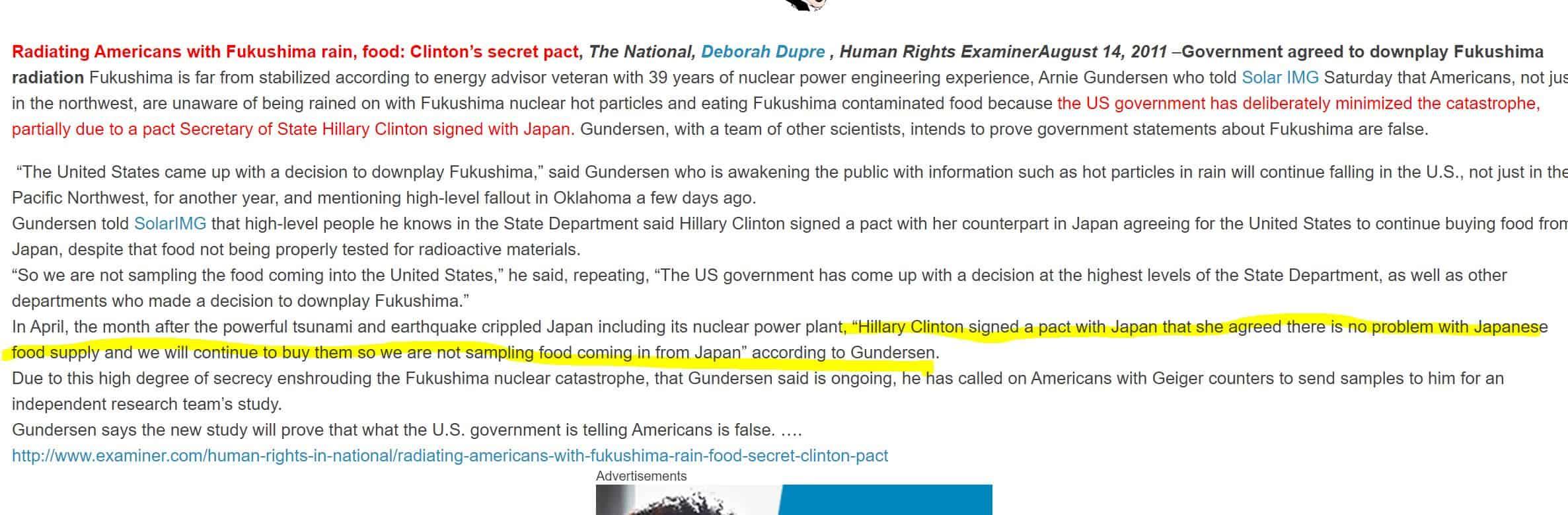 Hillary FUkushima Food Pack