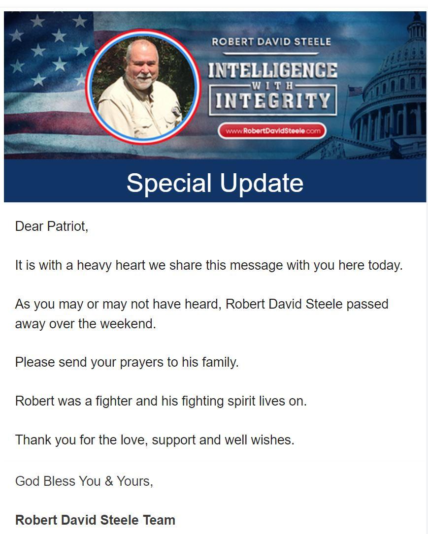 Robert David Steele Died