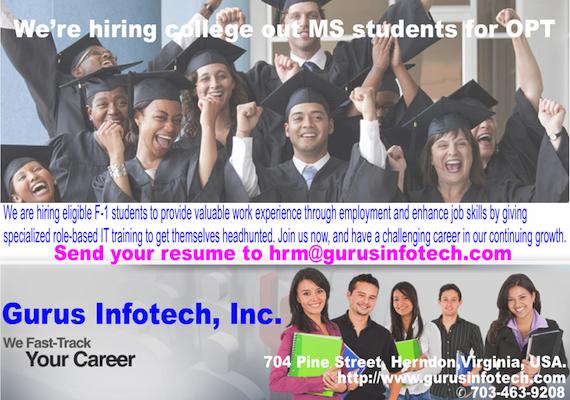 Gurus Infotech Inc: OPT Hiring