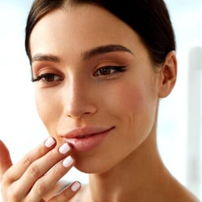 A woman who received filler on her lips
