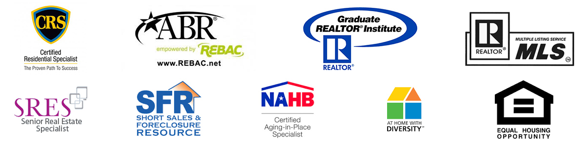 Certified Residential Specialist, Member of Realtor, Equal Housing Opportunity, accredited buyer representative, senior real estate specialist, Multiple listing service, equal hosing opportunity, at home with diversity, short sales and foreclosure specialist, certified agent in place specialit