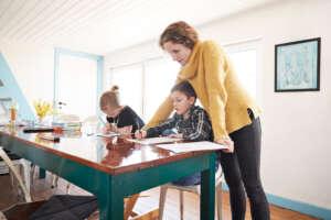 nanny homeschool teaching young children