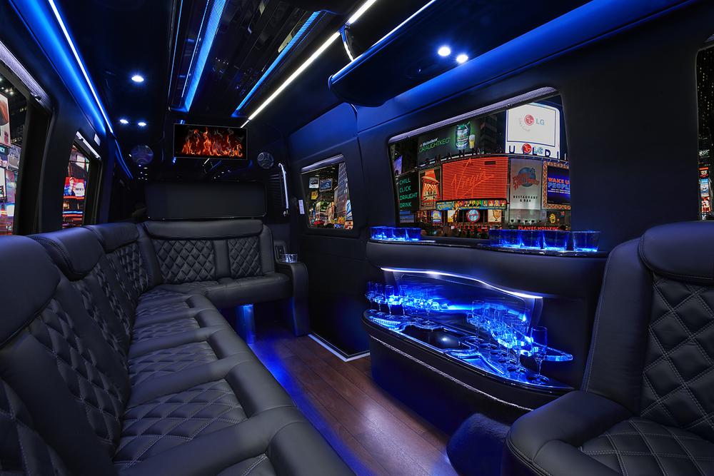 Luxury sprinter limo interior view