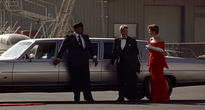 Woman in luxury limousine