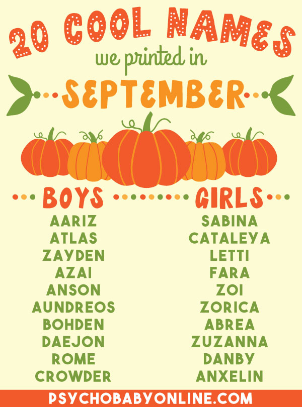 Unique Baby Names from September