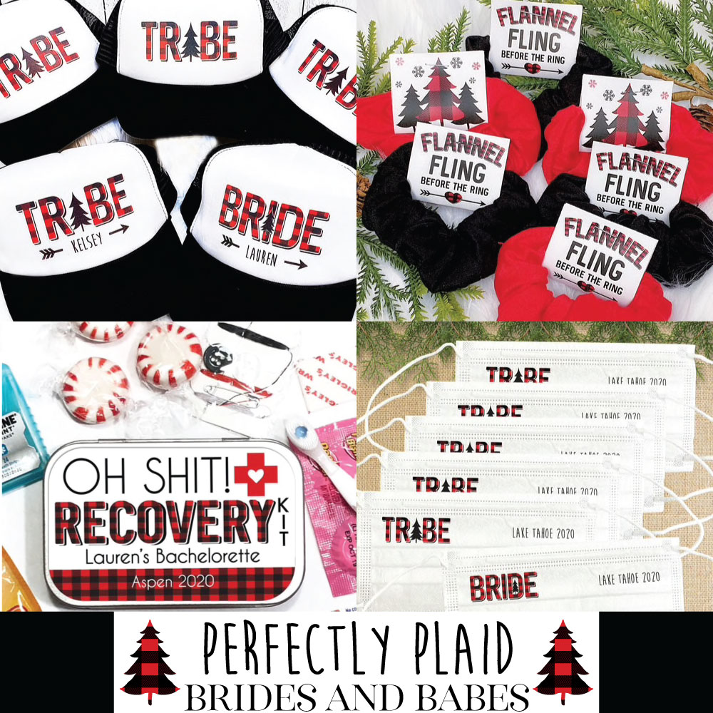 Personalized Plaid Bachelorette Favors and Clothing