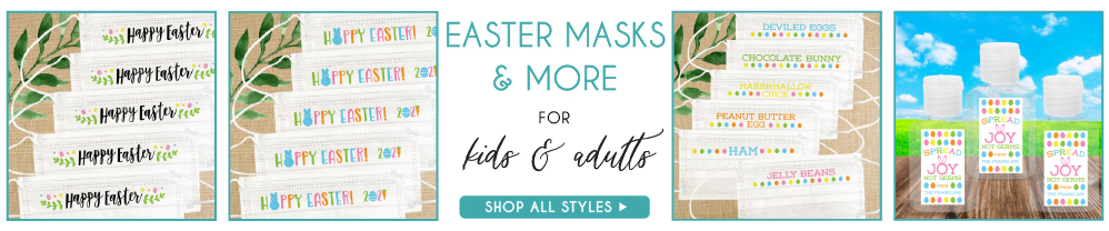 Disposable Easter Masks for Adults, Men, Women, Kids, Boys, Girls with Nose Wire & Colorful Sayings