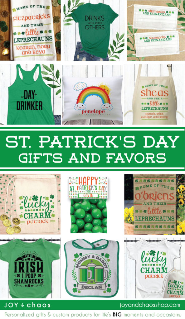 Personalized St. Patrick's Day Masks, Shirts, Baby Gifts, Home Decor & More from Joy & Chaos