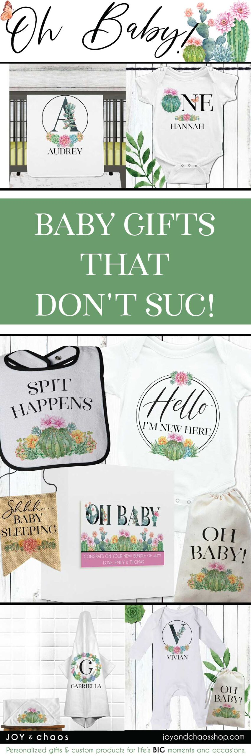 Personalized Baby Gifts for Floral Cactus Succulent Baby Shower or Nursery
