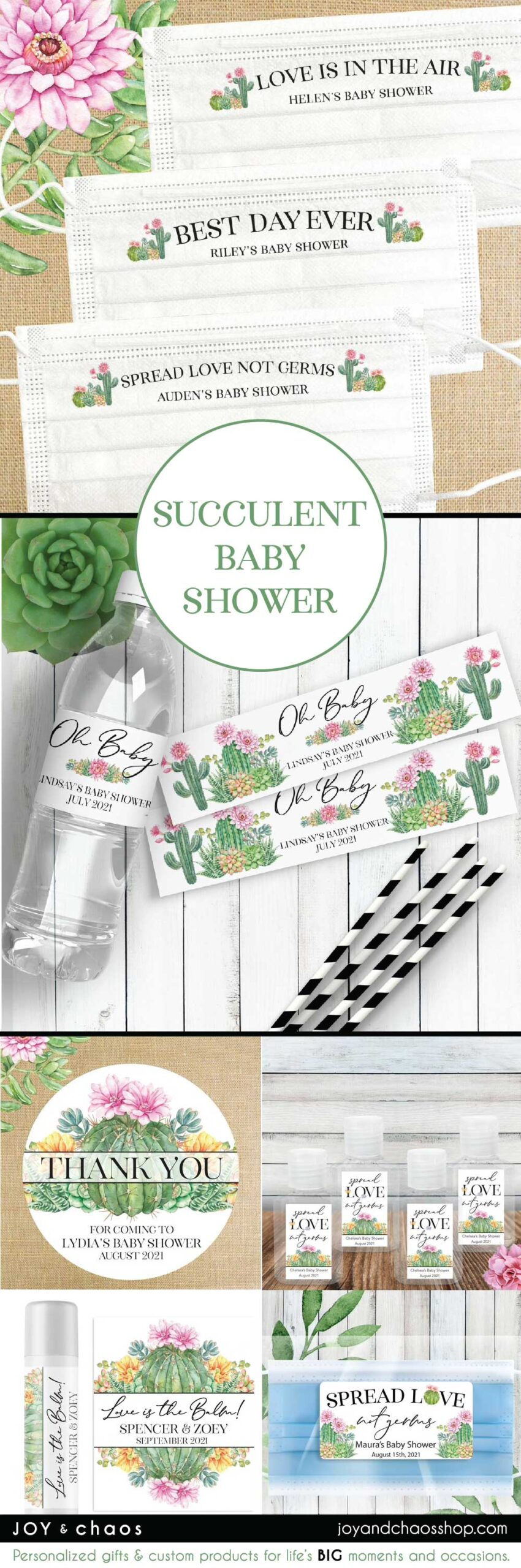 Cactus Succulent Floral Baby Shower Favors and Personalized Party Supplies