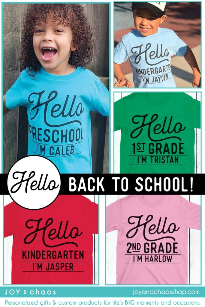 Personalized Kids Shirts - Back to School Outfits for Children