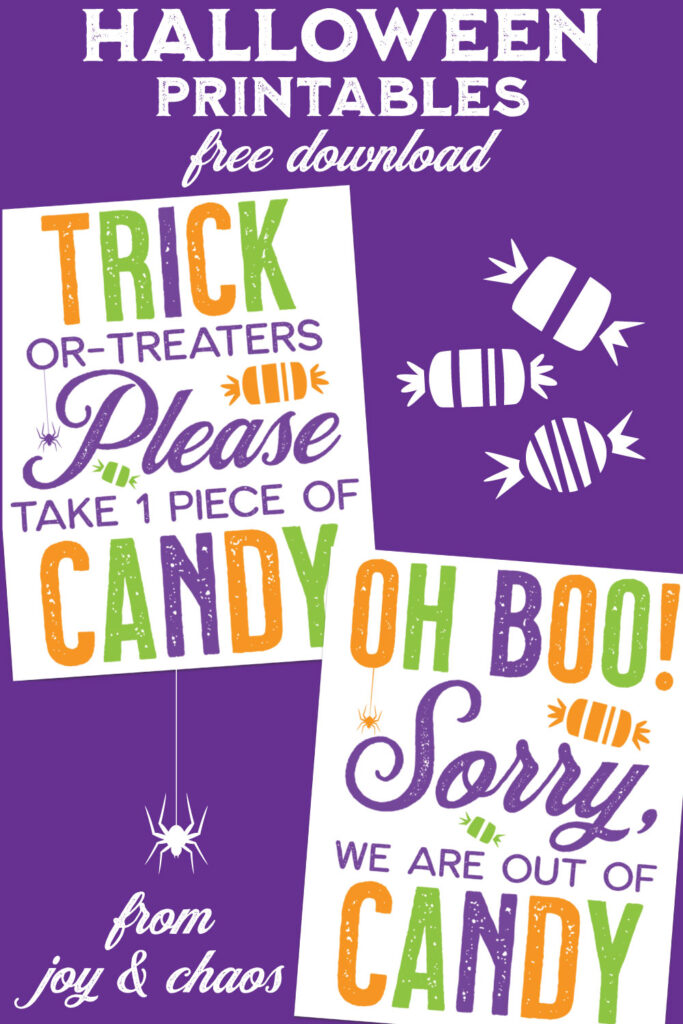 Free Printable Halloween Door Sign - Trick or Treat Candy Signs from Joy & Chaos