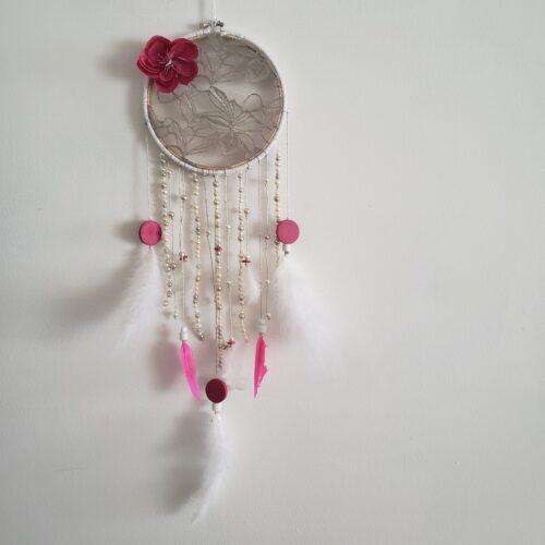 Boutique Papangue atelier créatif Capteur de rêves Rose bonbon