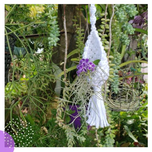 mini support floral macramé jardiniere