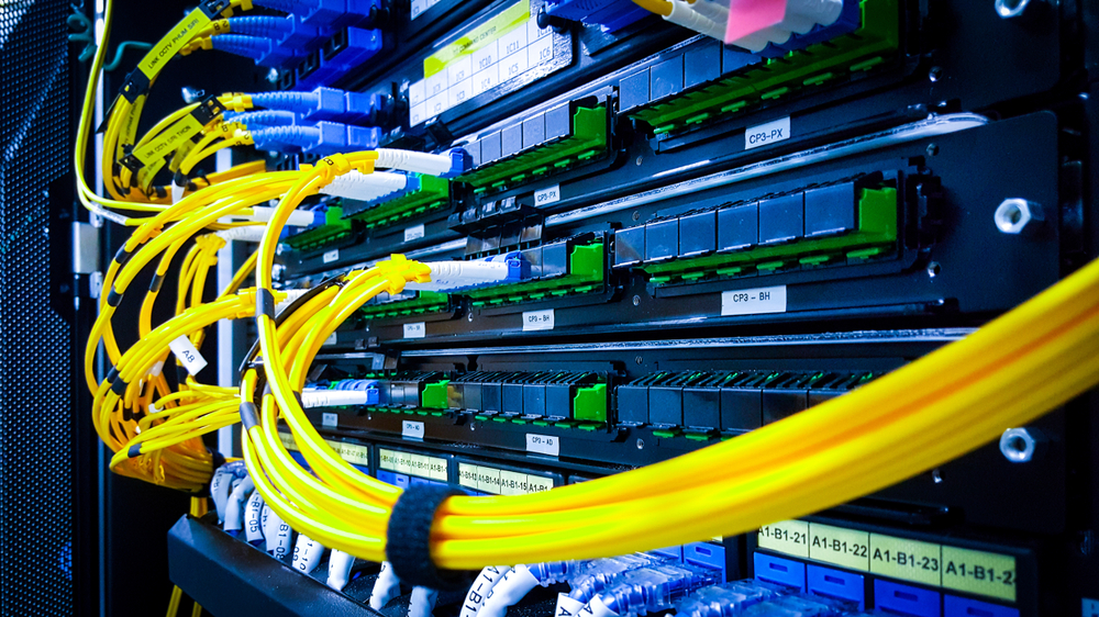 Closeup of cables in a server room