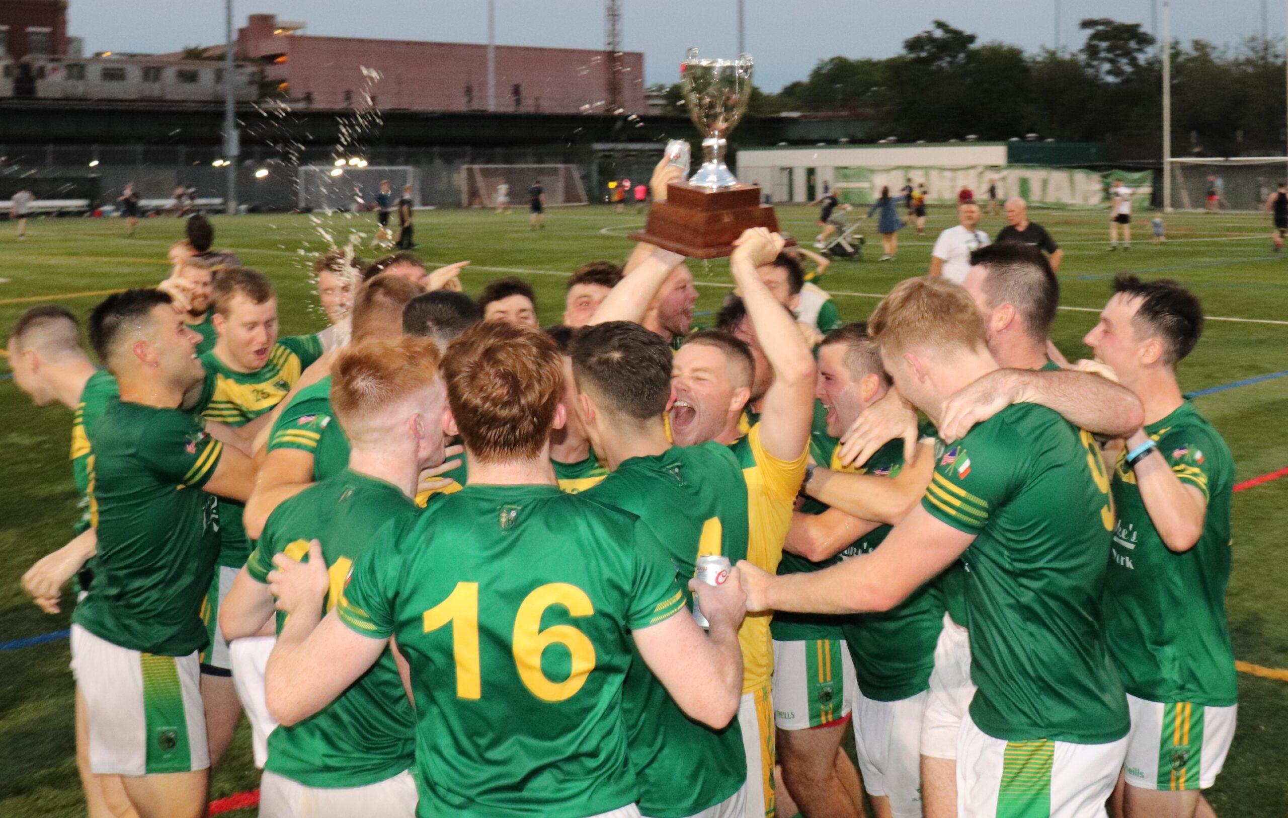 St. Barnabas celebrate winning the New York Senior Football Championship Final at Gaelic Park Sunday (Photo: Michael Dorgan, The Long Hall Podcast)